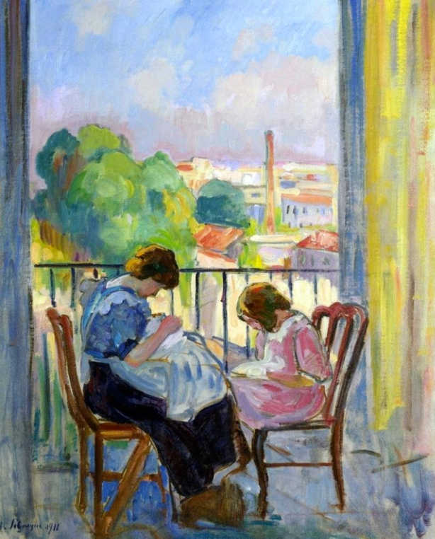 Girl Sewing at Window, Lebasque