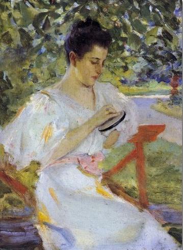 Mrs. Wiles in the Garden, Irving Ramsey Wiles