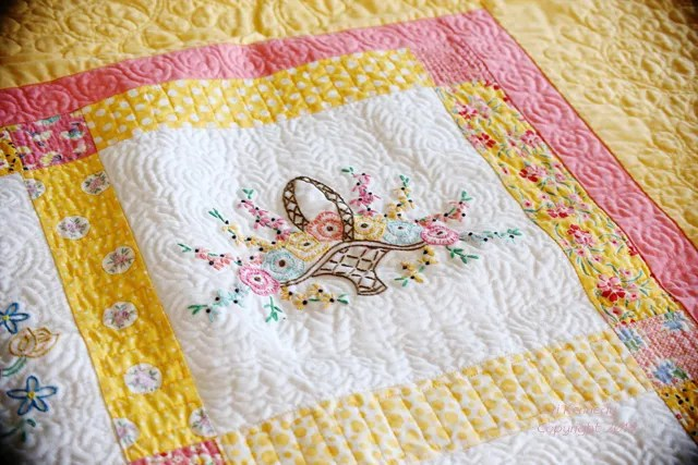 Vintage Embroidery, Modern Quilt