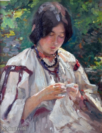 Nicolae Vermont, Peasant Woman Sewing