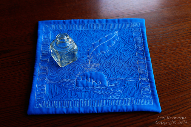 The Feathered Leaf:Ink Bottle Mini Quilt002