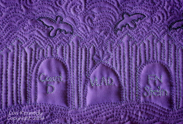 Free Motion Quilting, Graveyard, Tombstones, Quilts, Doodle