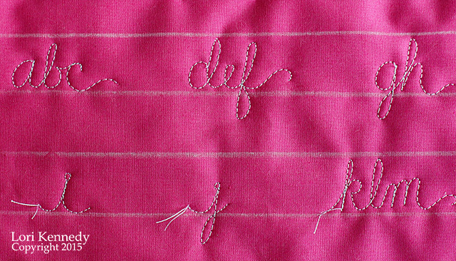 Handwriting, Free motion Quilting