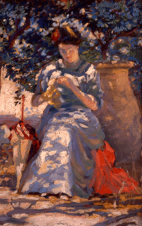 Arthur Watson Sparks, Woman Sewing In Garden