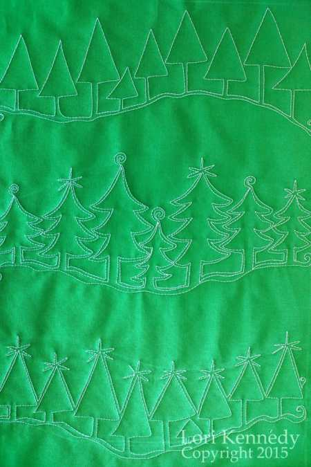 Evergreen Trees, Free Motion Quilting, Lori Kennedy