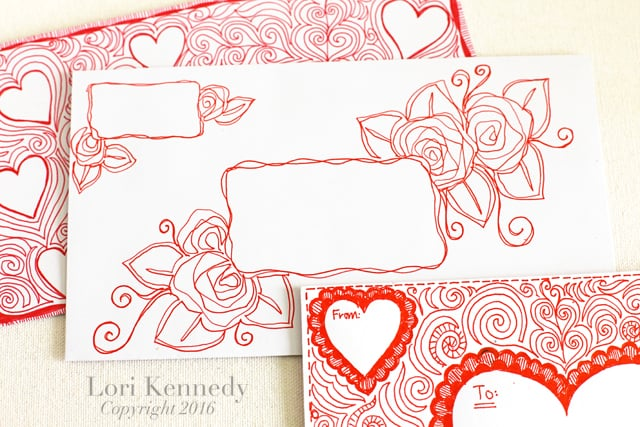 Doodle Envelopes, Zentangle, Lori Kennedy