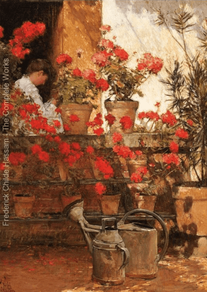 Geraniums, Childe Hassam