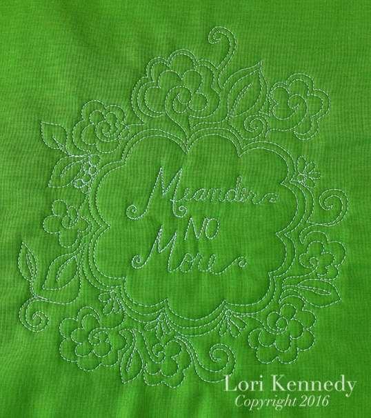Meander No More, FMQ, Lori Kennedy