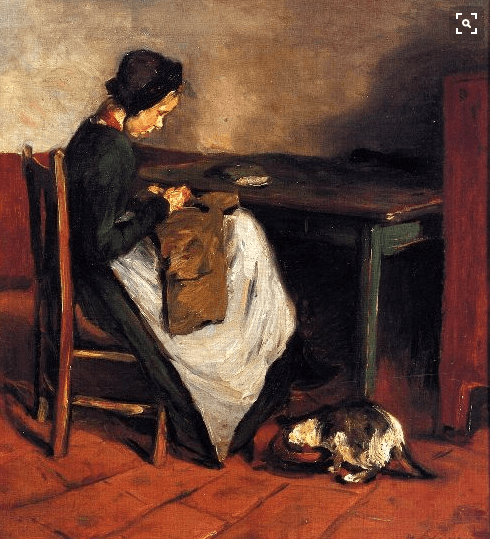 Max Leiberman, Woman Sewing with Cat