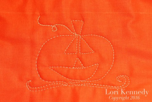 Jack-o-Lantern, Pumpkin, Machine Quilting, FMQ