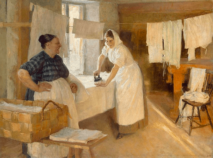 Two Women with Laundry, Albert Edelfelt