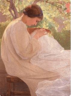 Girl Sewing Fine Art, Giovanni Sottocornola