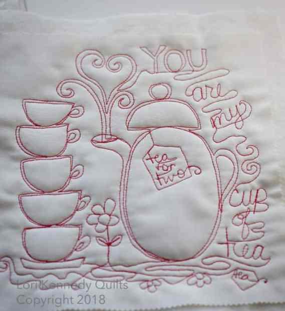 Lori Kennedy Machine quilting, teacup motif, teapot motif, Valentine