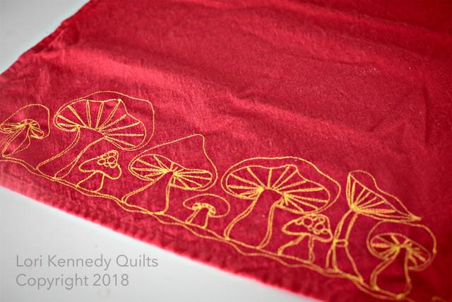 Machine Embroidered Mushroom Towel, Lori Kennedy