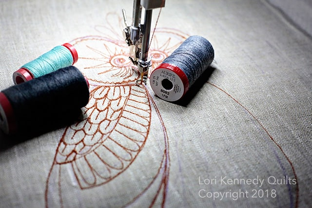 Owl, Aurifil, Wool, Machine Quilting