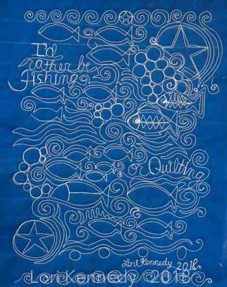 Fish Quilt, Whole cloth quilt,