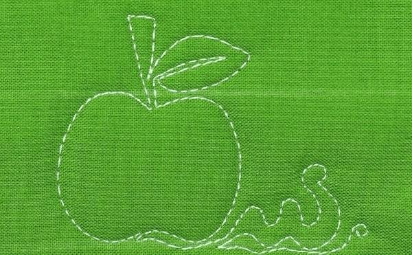 Machine Quilting, Apple, Worm