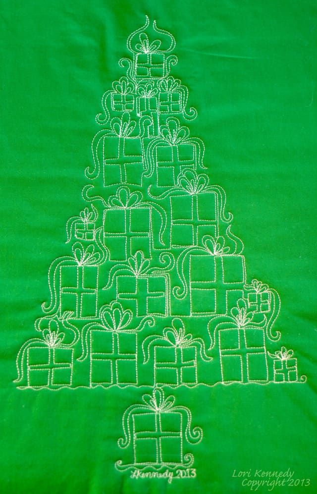Christmas Tree, Free Motion Quilting, Presents