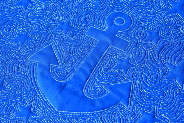 Anchor Quilt, Whole cloth quilt, Lori Kennedy