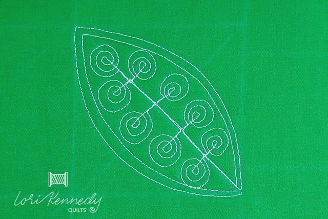 Welsh Leaf with Silly Spirals, Lori Kennedy FMQ