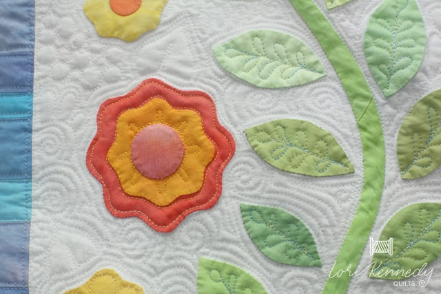 quilting applique flowers and leaves