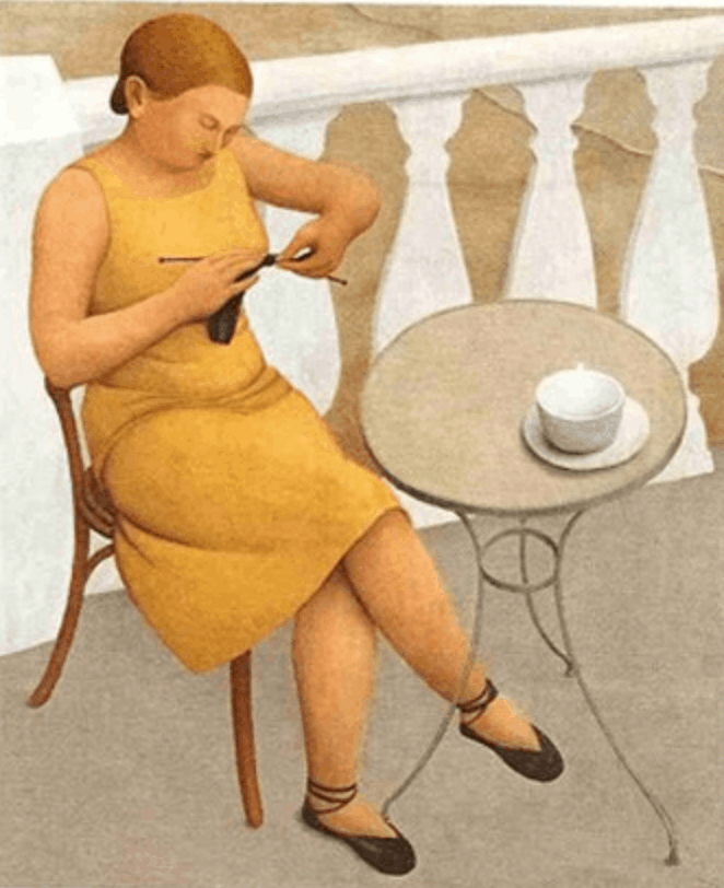 "Meraud Guinness Guevara, ""Woman Knitting"""