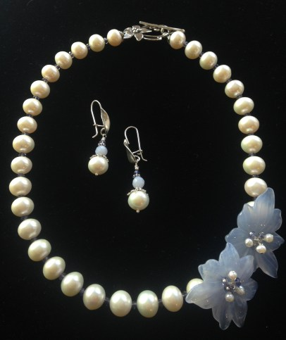 Freshwater Pearls with Carved Chalcedony Flowers, Iolite and Sterling Flower Toggle - $350 Earrings - FWPearl, Blue lace Agate, Thai Silver - $60