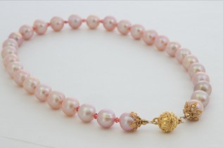 Pink Fresh Water Pearls with Swarovski Crystal and Vermeil Magnetic Clasp - $195