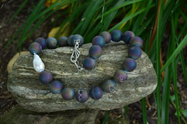 "12mm Agate, Baroque Pearl, Swarovski Crystal 16"" - $235"