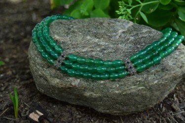 """3 Strand Green Agate with Marcasite and Swarovski Crystal. Adjustable from 15""""-17"""" - $350"""