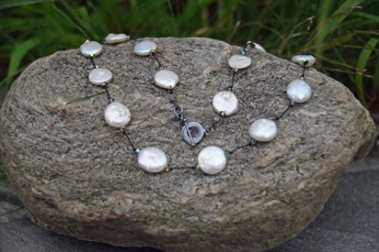 "White Coin Pearl, Swarovski Crystal on Silk with Oxidized Silver Clasp 16"" - $95"