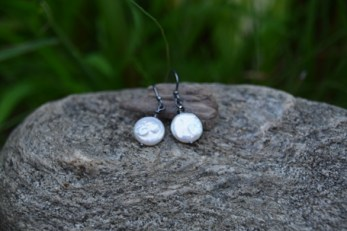 White Coin Pearl, Swarovski Crystal on Oxidized Silver - $25