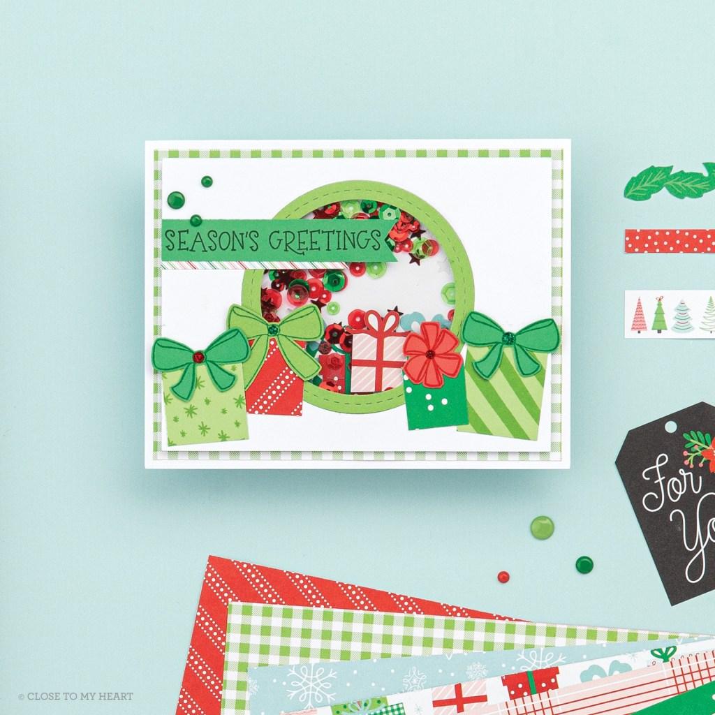 Shaker Card using Holly Jolly