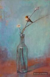 ©2015 Lori McNee Glass Bottle & Hummingbird 18x12 Oil on panel