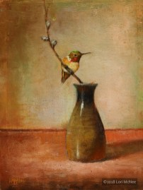 ©2012 Lori McNee Little Sake Bottle & Hummingbird 12x12 Oil on linen