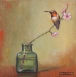 ©2016 Lori McNee Plum Blossoms and Hummingbird 8x8 Oil on linen