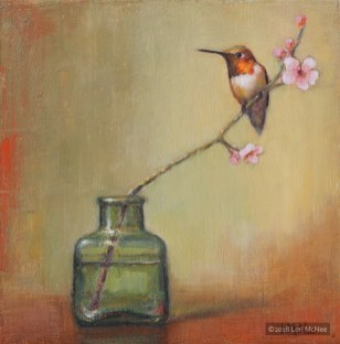 ©2016 Lori McNee Plum Blossoms and Hummingbird 8x8 Oil on linen