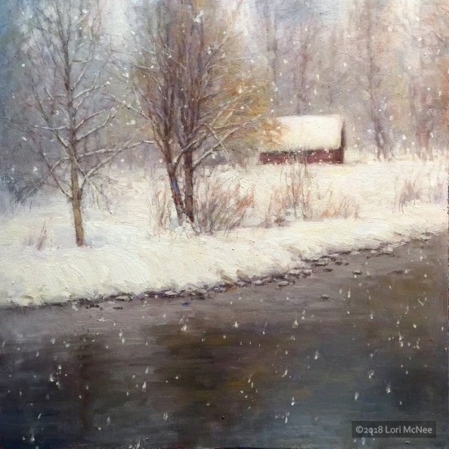©2016 Lori McNee Snowy Day 20x20 Oil on linen