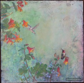 encaustic wax painting hummingbirds by Lori McNee