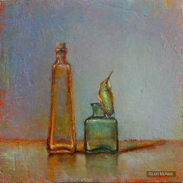 ©2012 Lori McNee Bottles & Hummingbird 12x12 Oil on panel