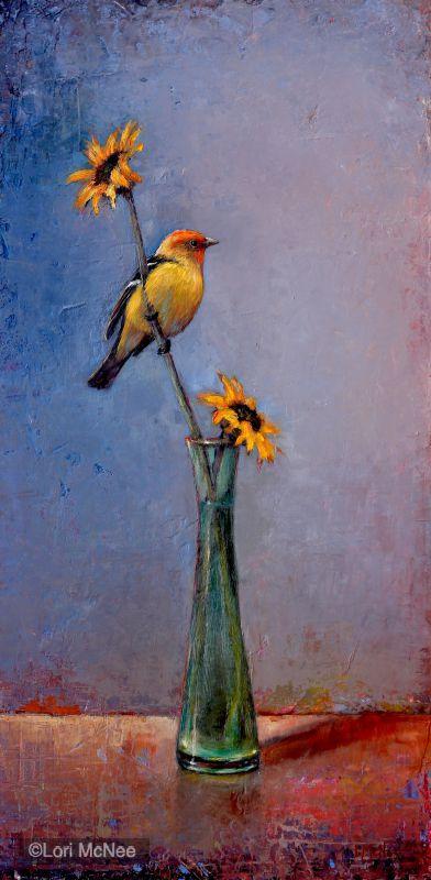 ©2012 Lori McNee Fleeting Summer - Western Tanager 24x12 Oil on panel