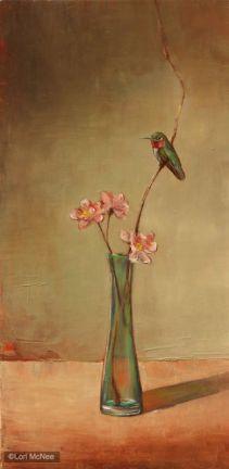 ©2011 Lori McNee Hummingbird and Peach Blossoms 24x12 Oil on panel