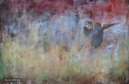 ©2014 Lori McNee Kaleidoscope - American Kestrel 24x36 Encaustic
