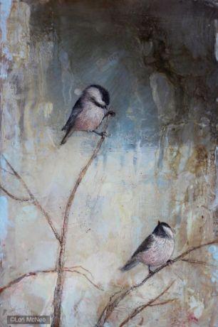 ©2014 Lori McNee Winter Play - Chickadees 18x12 Encaustic