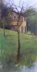 ©2018 Lori McNee In the Olive Garden 12x6 Oil on oil paper