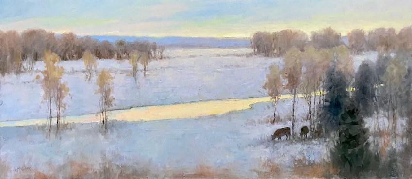 ©2019 Lori McNee Western Winter 19x43 oil on linen