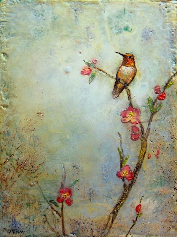 encaustic wax bird painting