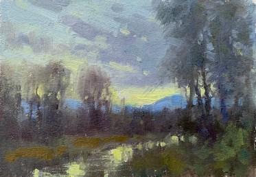 ©2019 Lori McNeeWyoming Sunset8x6Oil on oil paper