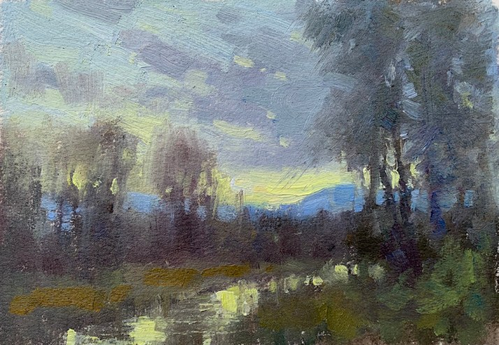 ©2019 Lori McNeeWyoming Sunset8x6Oil on oil paper