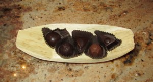 Chocolate truffles for the Sunday Funday wine pairing at Las Positas Vineyards.